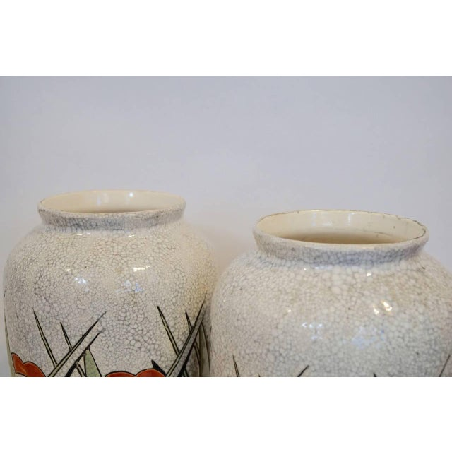 Art Deco Early 20th Century Matching Charles Catteau Geometric Vases - a Pair For Sale - Image 3 of 6