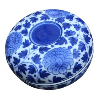 Vintage Chinese Blue White Floral Trinket Box