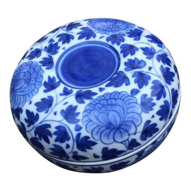 Vintage Chinese Blue White Floral Trinket Box For Sale