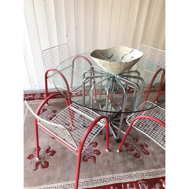 80's Vintage Designer Arc Grid Patio Chairs For Sale - Image 11 of 12