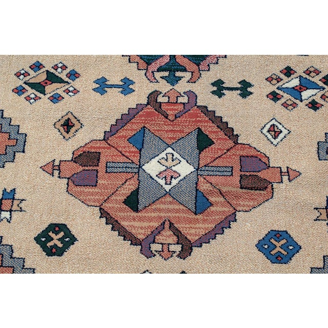 Fabric Aztec Style Rug - 5′6″ × 7′10″ For Sale - Image 7 of 9