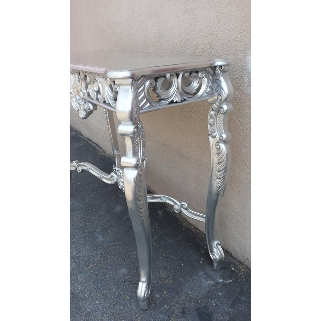 Louis XV Silver Hand-Carved Mahogany Console Table - Image 4 of 6