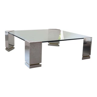 Brueton Polished Chrome and Glass Low Table, USA For Sale