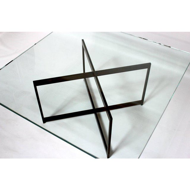 Mid-Century Bronze & Glass X-Base Coffee Table For Sale In Sacramento - Image 6 of 10
