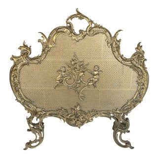 French Louie XVI Style Rococo Cast Iron Cherob Floral Fire Screen For Sale
