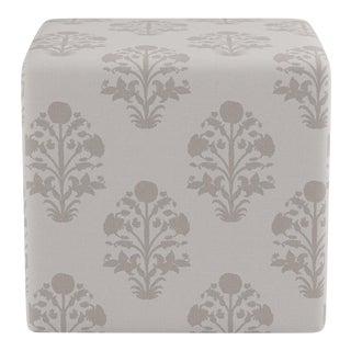 Cube Ottoman in Garden In Grey For Sale