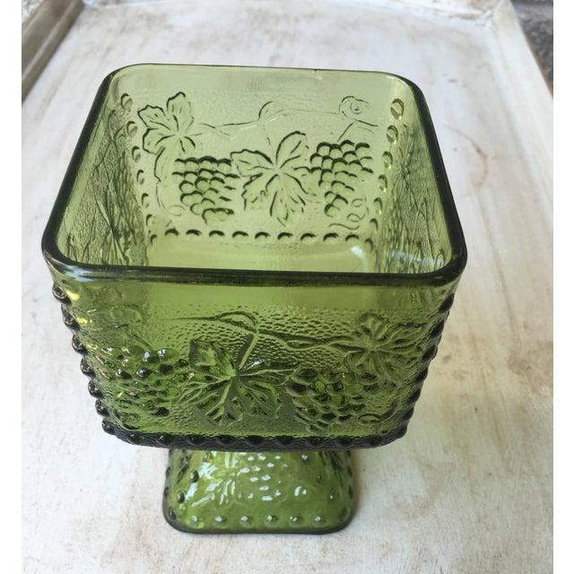 Vintage Green Glass Grapes Pedestal Planter - Image 4 of 7
