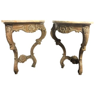Early 20th Century Rococo French Hand-Carved Pair of Corner Consoles With Drawer For Sale