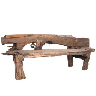 Indian Wooden Art Studio Bench by Indian Artist R. Mohanta For Sale
