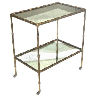 1950s Vintage Maison Baguès Faux Bamboo Two-Tier Side Table/ Bar Cart For Sale