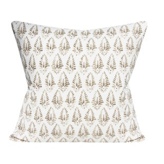 "Indian Print Jalisa Tan and White Decorative Pillow Cover - a Pair, 20x20"" For Sale"