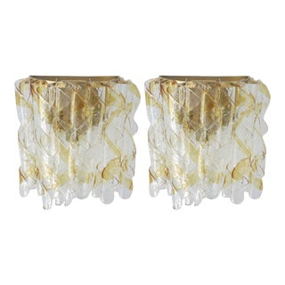 Ribbon Clear and Amber Murano Glass Sconces by Mazzega - a Pair For Sale