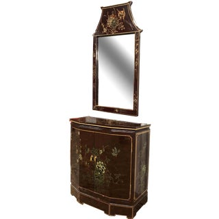 Vintage Chinoiserie Entryway Console With Pagoda Mirror - 2 Pieces For Sale