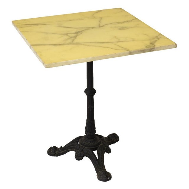 French Stone Top Bistro Table With Cast Iron Pedestal Base For Sale - Image 10 of 10