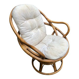 1960s Vintage Classic Bamboo Swivel Chair For Sale