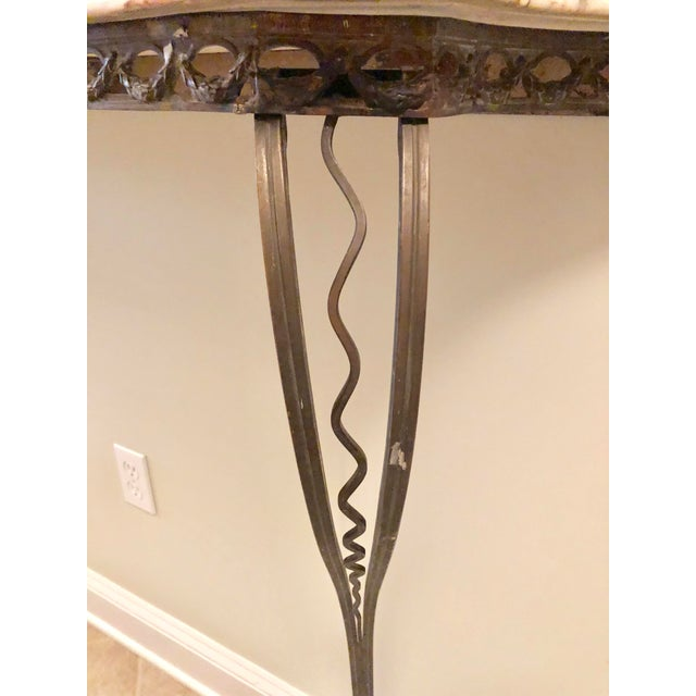 French Wrought Iron Art Deco Marble Top Console For Sale - Image 4 of 13