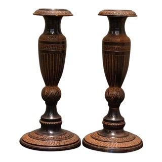 Mid 20th Century Vintage Greek Neoclassical Bronze Urn Candlesticks- A Pair For Sale