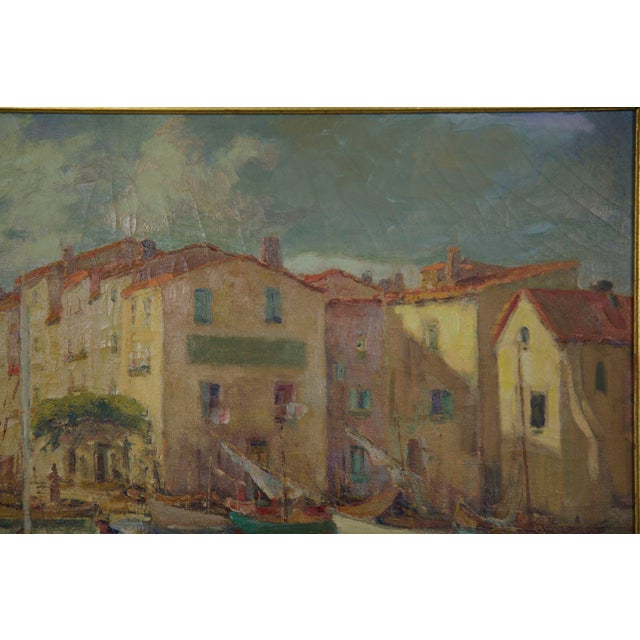 Impressionism French Impressionism Antique Oil Painting of Fishing Harbor by Paul Balmigere For Sale - Image 3 of 13