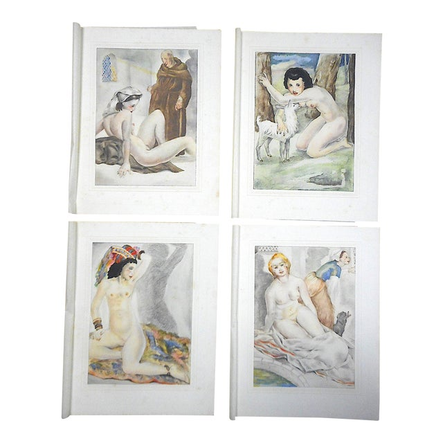 Vintage Hand Colored Copperplate Engravings-Mariette Lydis-Paris-Set of 4 For Sale