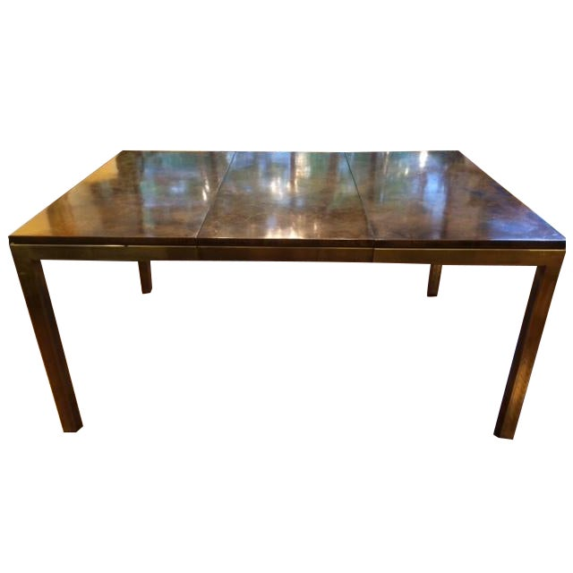 Modern Brass & Burlwood Parson Dining Table - Image 1 of 6