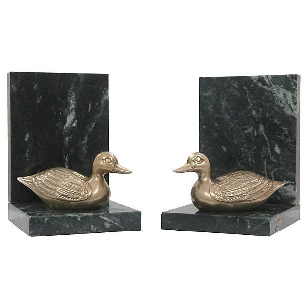 Marble & Brass Duck Bookends - A Pair - Image 1 of 6