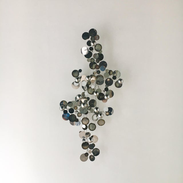 1970s A Chrome Raindrops Wall Sculpture For Sale - Image 5 of 5