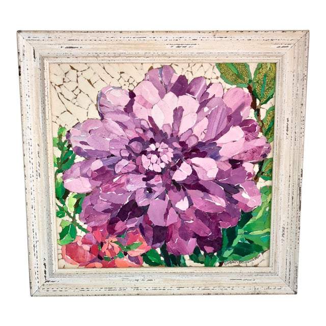 Contemporary Purple Peony Collage For Sale