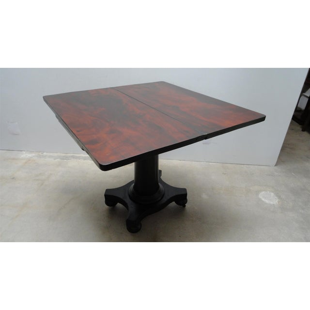 Wood Antique Ebonized Empire Game Table and Console For Sale - Image 7 of 11