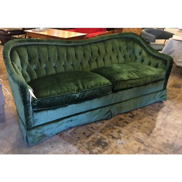 Green Rolf Edward Broms - Emerald Green Silk Velvet Hollywood Regency Sofa By For Sale - Image 8 of 8
