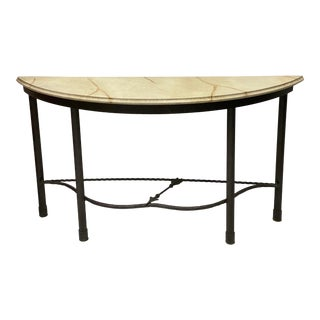 Vintage Neo-Classical Style Iron & Faux Marble Console Table For Sale