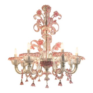 Antique Pink Murano Glass Chandelier For Sale
