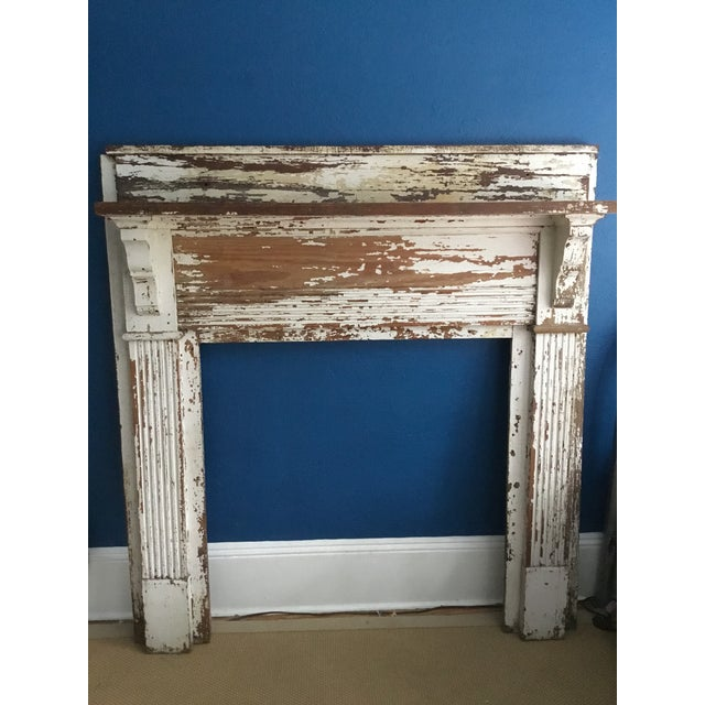 Antique Shabby Chic Wooden Mantel with Shelf For Sale - Image 11 of 11