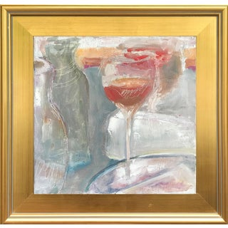 Impressionist Still Life Oil Painting Wine Glass by M. Benton