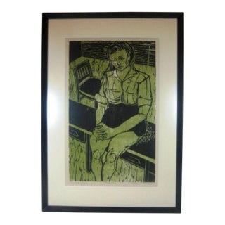 """20th C. American Modernist """"Young Girl"""" Portrait Woodcut Print Signed Proof C. 1960s For Sale"""