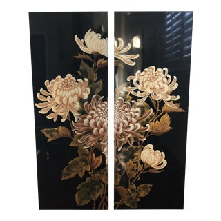 Chinoiserie Lacquer Gold Foil and Blush Chrysanthemum Art Panels For Sale