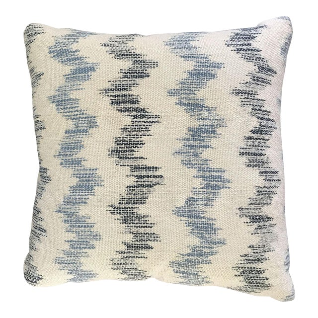 Custom Blue and White Chevron Pillows - a Pair - Image 1 of 5
