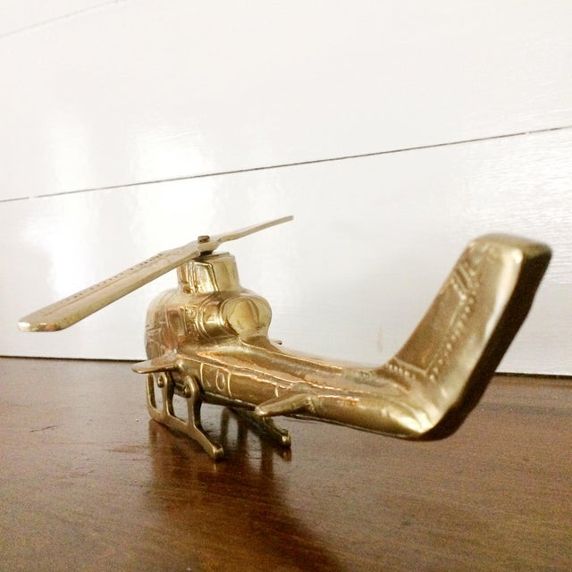 Contemporary 1960s Solid Brass Helicopter With Moving Propeller For Sale - Image 3 of 7