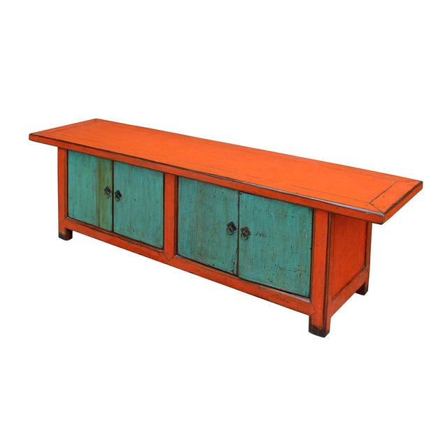 Chinese Distressed Orange Blue Low TV Console For Sale - Image 4 of 6