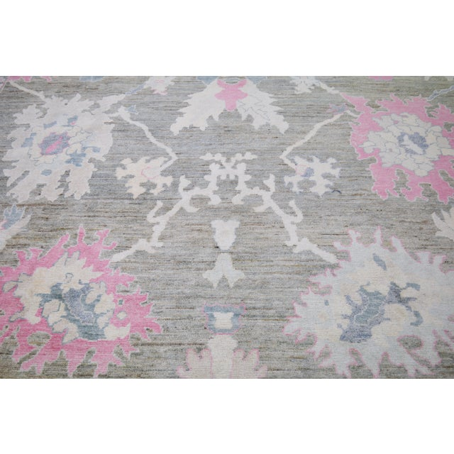Vintage Turkish Angora wool hand knotted rug with natural colors and all over design.