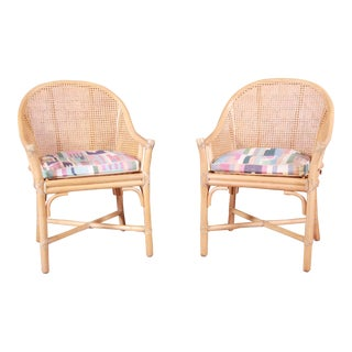 McGuire Hollywood Regency Organic Modern Bamboo and Cane Club Chairs - a Pair For Sale