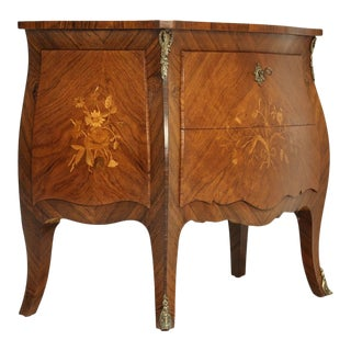 Antique Bombe Inlaid Louis XV Style Commode For Sale
