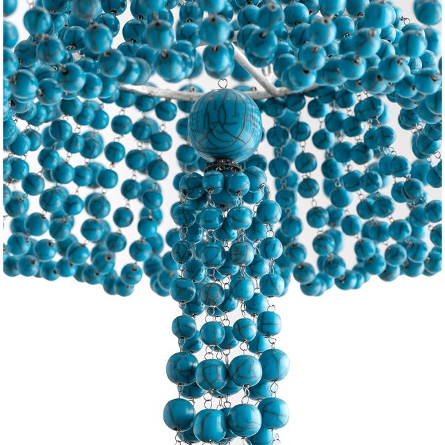 Arteriors Home Turquoise Beaded Four Light Chandelier - Image 3 of 11