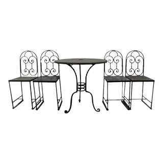 19th Century French Wrought Iron Cafe' Table and Chairs, Nice Heavy Weight