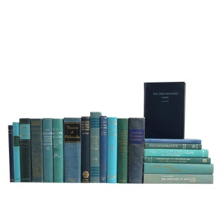 Midcentury Ocean Blue Book Set: Philosophical Selections For Sale