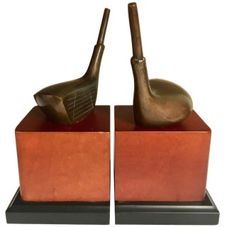 Golf Bookends With Brass Club For Sale