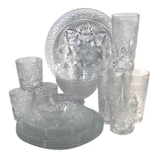 Vintage Cristal d'Arques-Durand Clear Dinnerware-Set of 20 For Sale