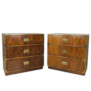 Pair of Vintage Campaigner Chests by Dixie For Sale