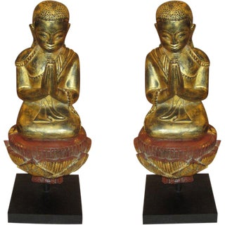Pair of Giltwood Quan Yin on Stand For Sale