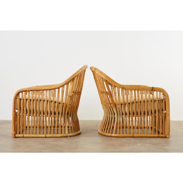 Beige Set of Eight Michael Taylor Organic Modern Bamboo Lounge Chairs For Sale - Image 8 of 13