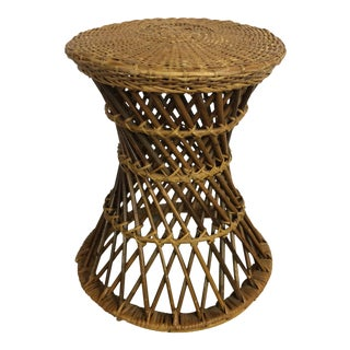 Hollywood Regency Rattan Wicker Bamboo Side Table For Sale